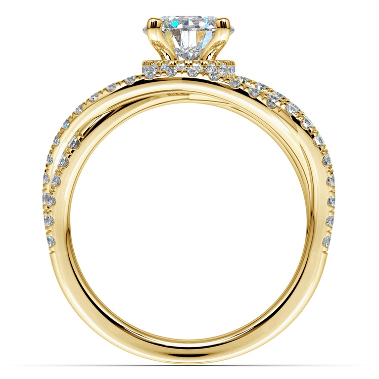 Double Cross Split Shank Diamond Engagement Ring in Yellow Gold | 02