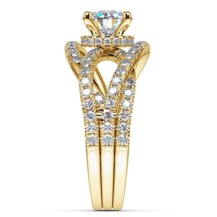 Double Cross Split Shank Diamond Engagement Ring in Yellow Gold | 03