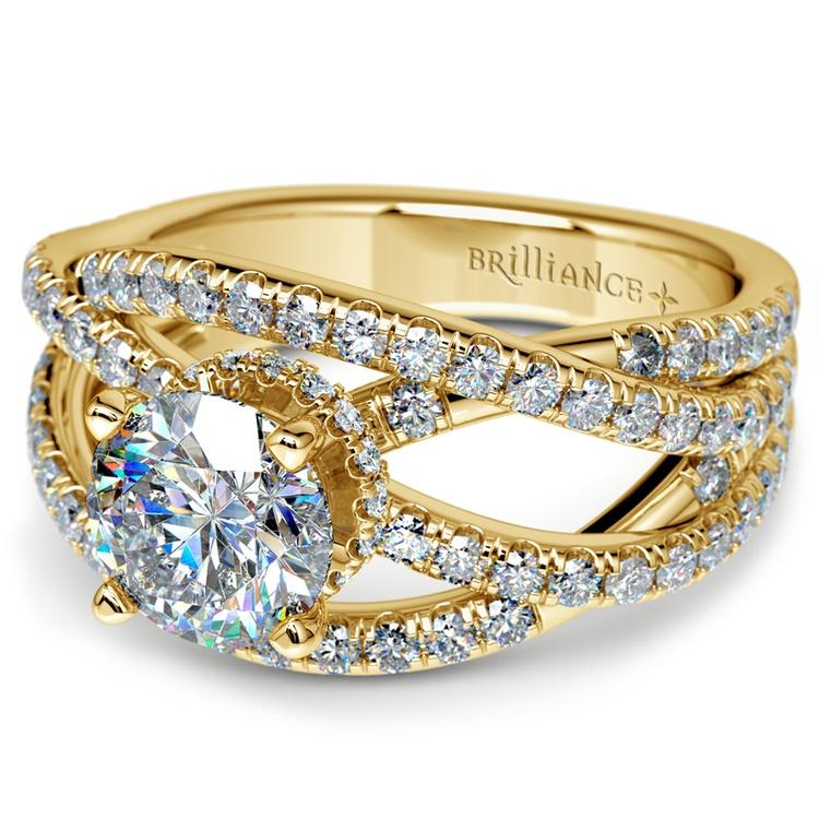 Double Cross Split Shank Diamond Engagement Ring in Yellow Gold | 04