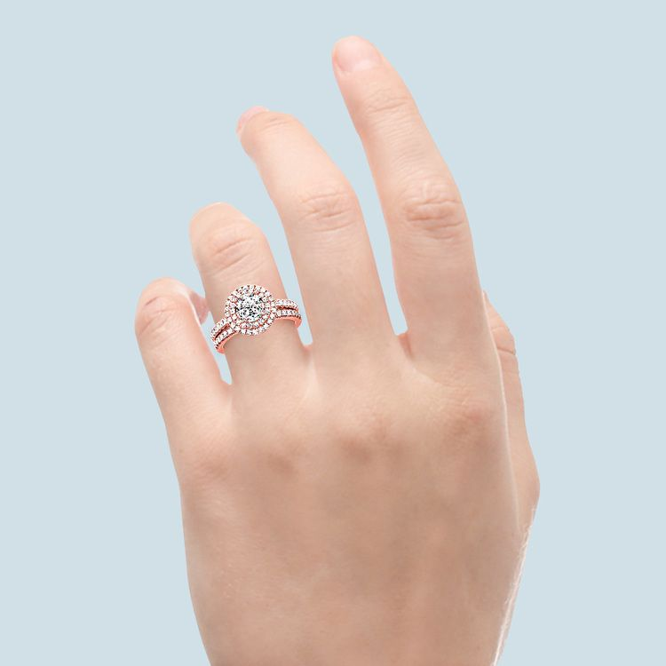 Double Halo Diamond Rose Gold Bridal Set   06