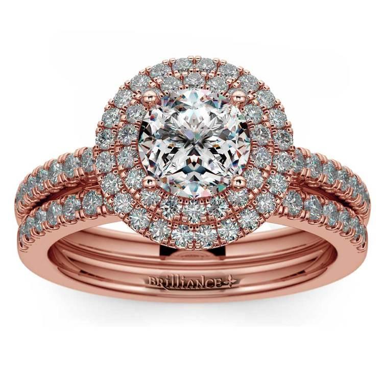 Double Halo Diamond Rose Gold Bridal Set   01