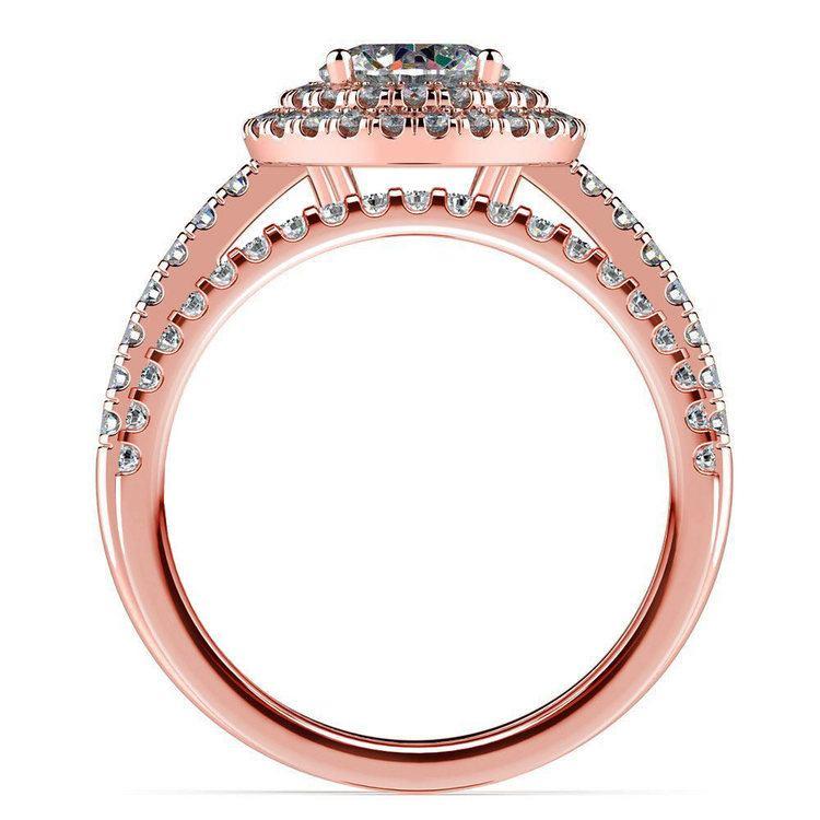 Double Halo Diamond Rose Gold Bridal Set   02