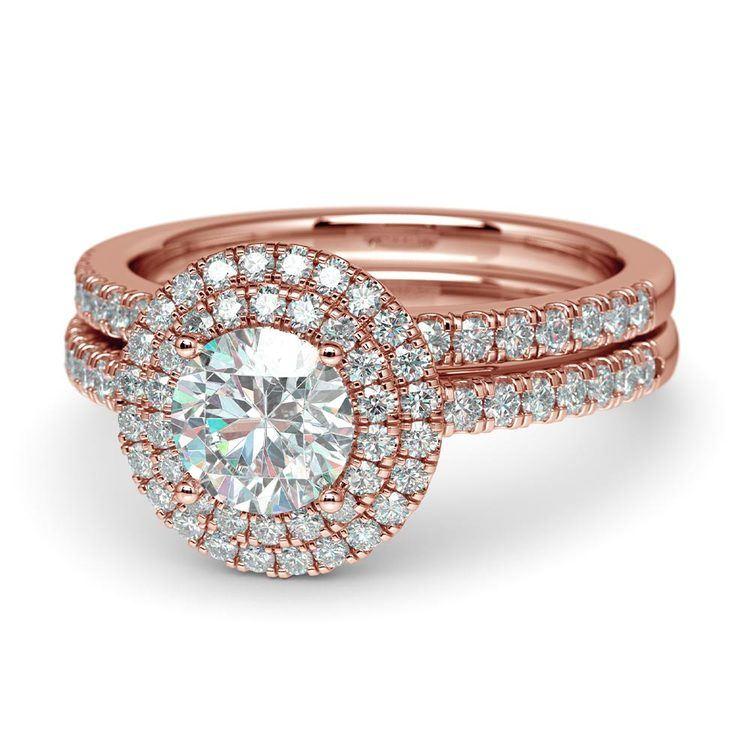 Double Halo Diamond Rose Gold Bridal Set   04