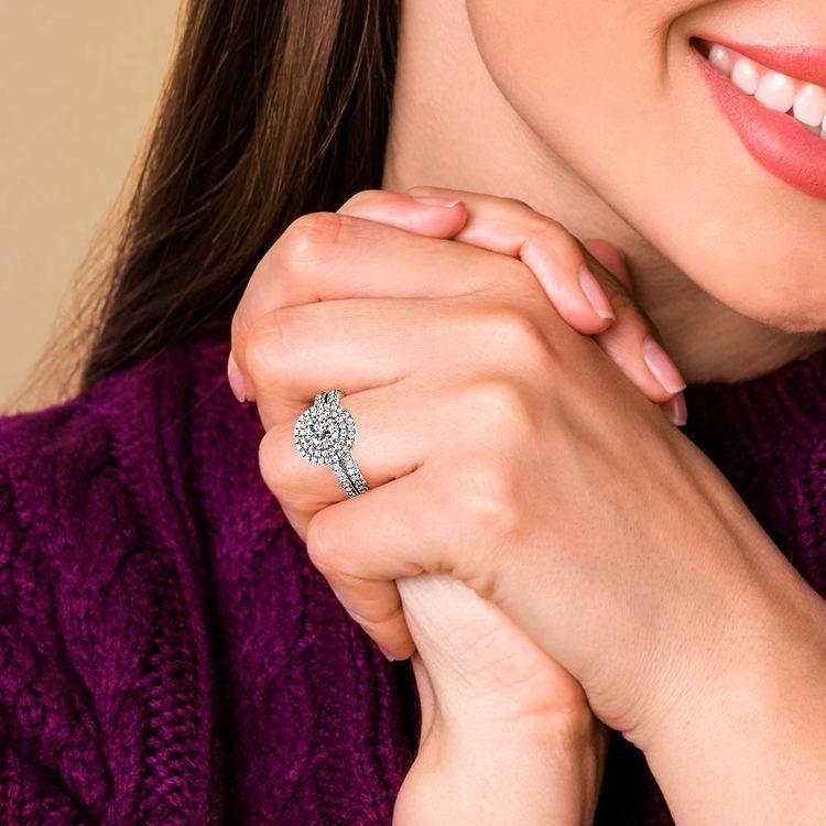 Double Halo Diamond Bridal Set in White Gold | 07