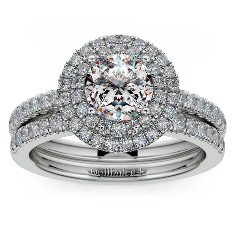 Double Halo Diamond Bridal Set in White Gold | 01