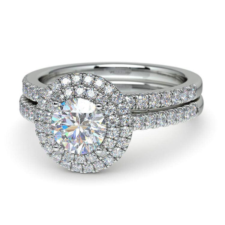 Double Halo Diamond Bridal Set in White Gold | 04