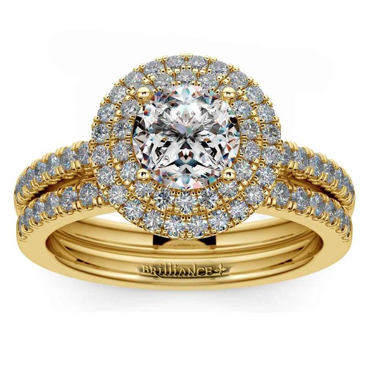 Double Halo Diamond Bridal Set in Yellow Gold   01