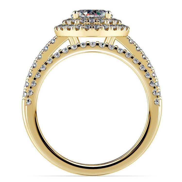 Double Halo Diamond Bridal Set in Yellow Gold   02
