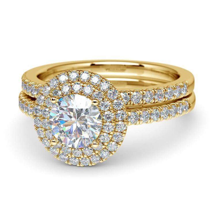 Double Halo Diamond Bridal Set in Yellow Gold   04