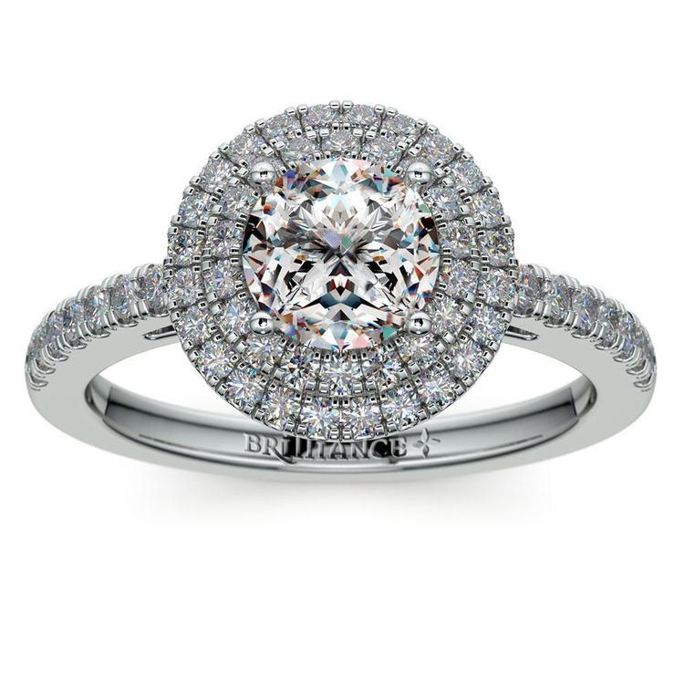 Double Halo Diamond Engagement Ring in Platinum   01