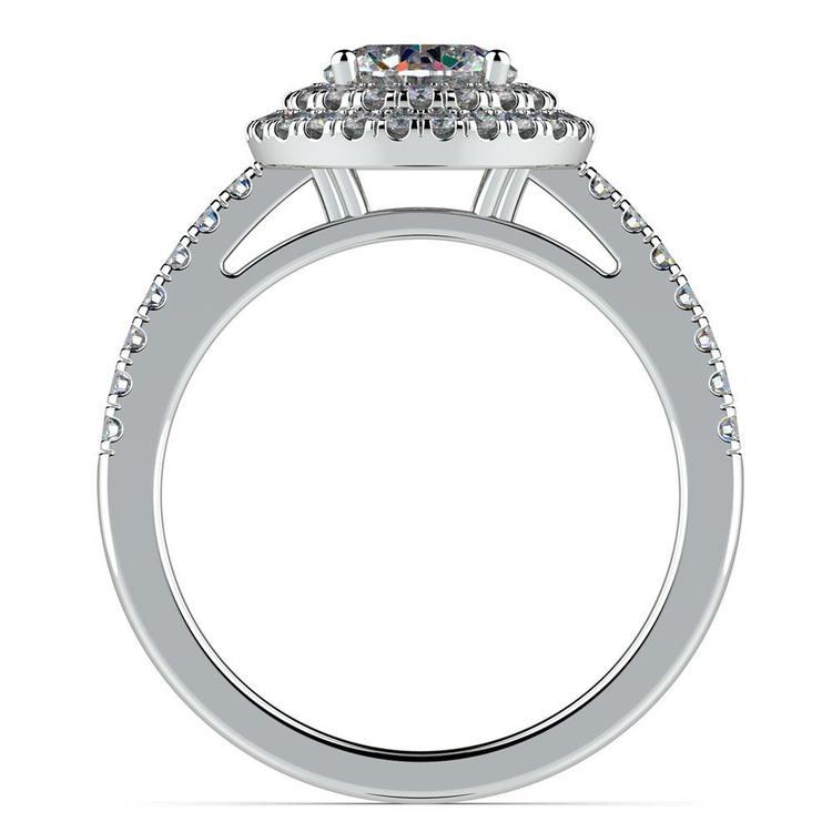Double Halo Diamond Engagement Ring in Platinum   02
