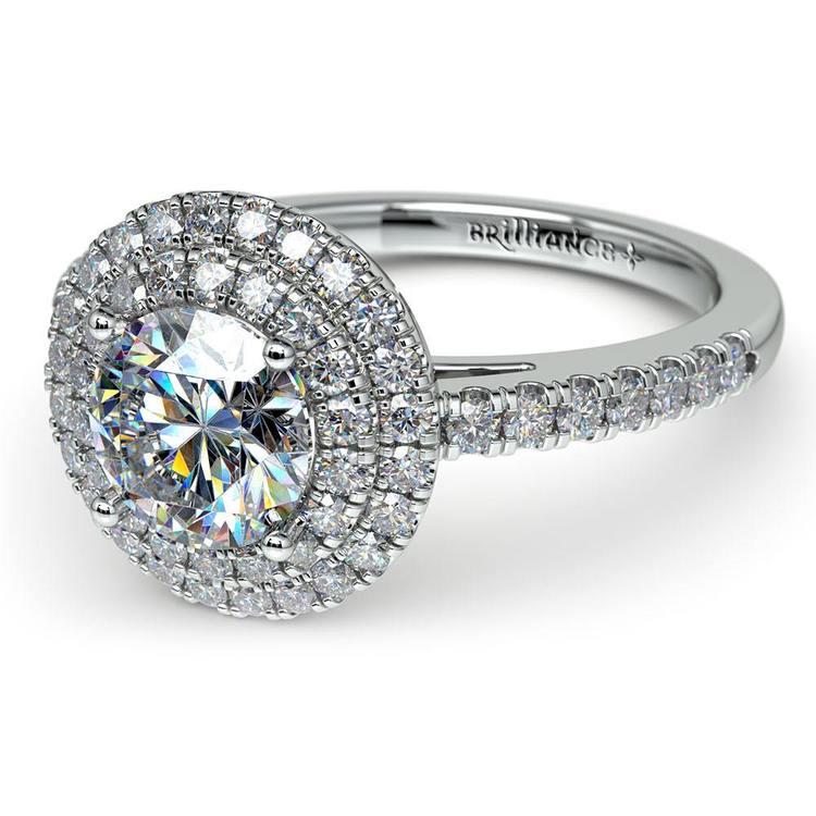 Double Halo Diamond Engagement Ring in Platinum   04