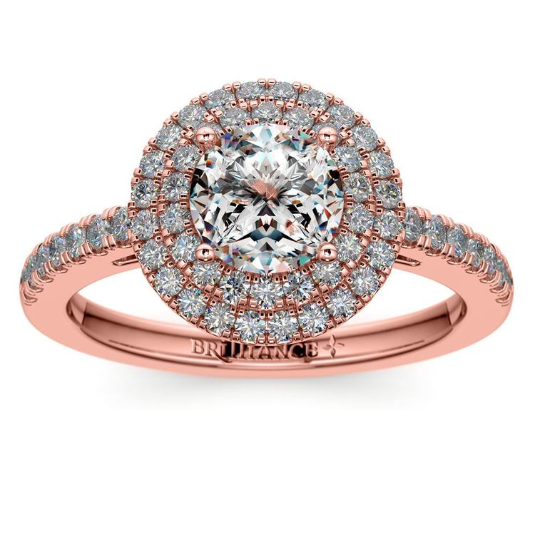Double Halo Diamond Engagement Ring in Rose Gold | 01