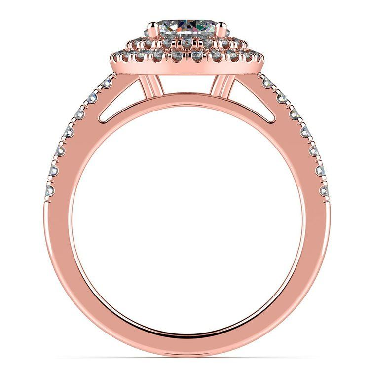 Double Halo Diamond Engagement Ring in Rose Gold   02