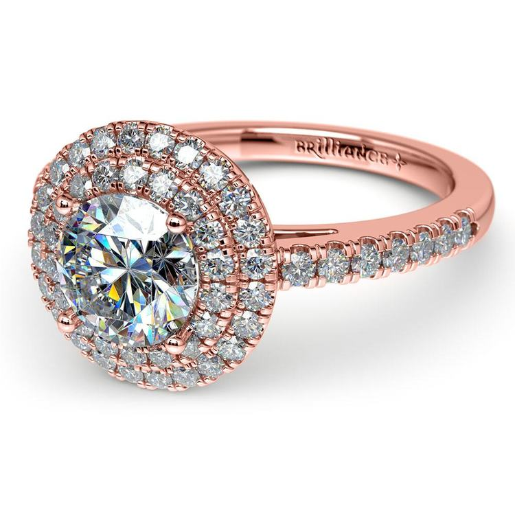Double Halo Diamond Engagement Ring in Rose Gold | 04