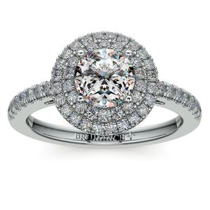Double Halo Diamond Engagement Ring in White Gold