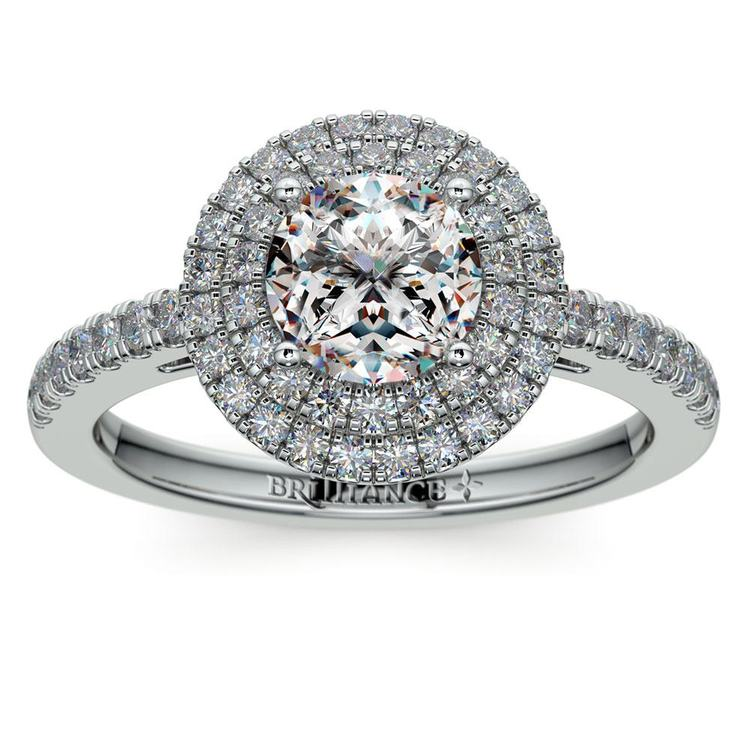 Double Halo Diamond Engagement Ring in White Gold | 01