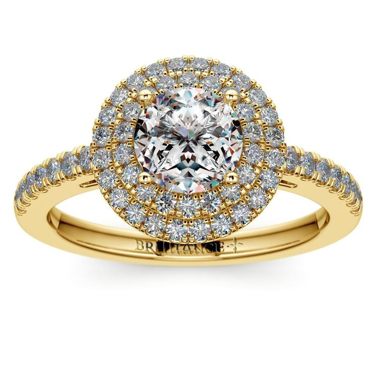 Double Halo Diamond Engagement Ring in Yellow Gold | 01