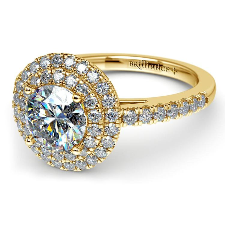 32b9c53d46e ... Double Halo Diamond Engagement Ring in Yellow Gold