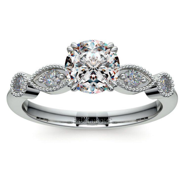 Edwardian Style Antique Diamond Engagement Ring in Platinum | 01