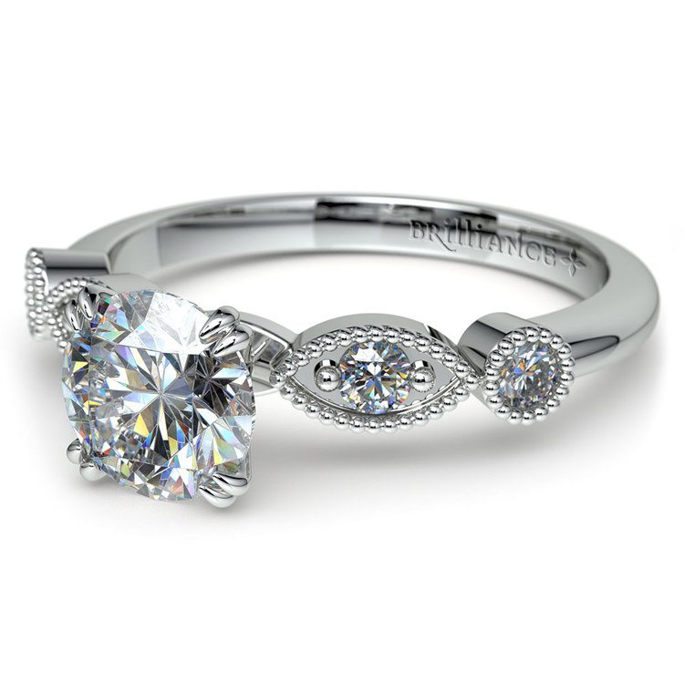 Edwardian Style Antique Diamond Engagement Ring in Platinum | 04
