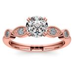 Edwardian Style Antique Diamond Engagement Ring in Rose Gold | Thumbnail 01
