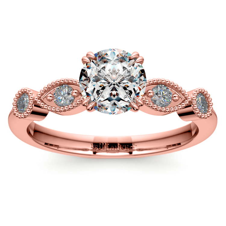 Edwardian Style Antique Diamond Engagement Ring in Rose Gold | 01
