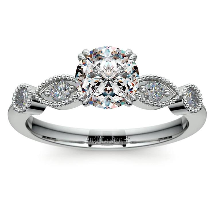 Edwardian Style Antique Diamond Engagement Ring in White Gold | 01