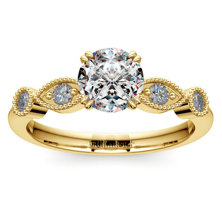 Edwardian Style Antique Diamond Engagement Ring in Yellow Gold | 01