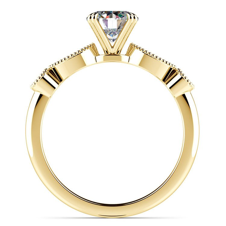 Edwardian Style Antique Diamond Engagement Ring in Yellow Gold | 02
