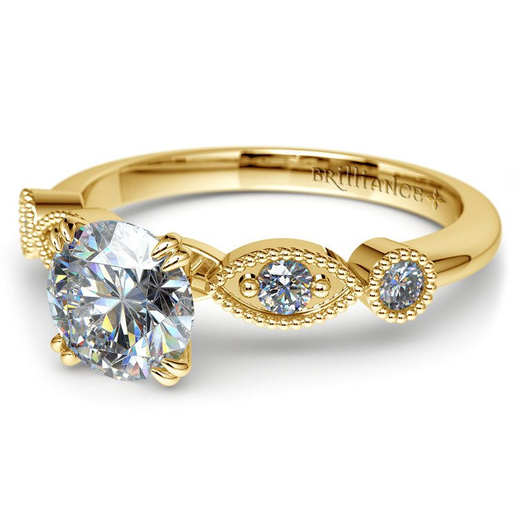 Edwardian Style Antique Diamond Engagement Ring in Yellow Gold | 04
