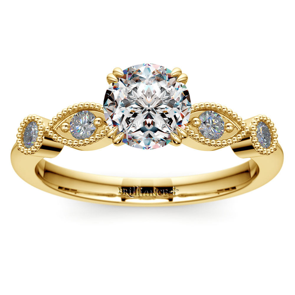 Edwardian Style Antique Diamond Engagement Ring in Yellow Gold