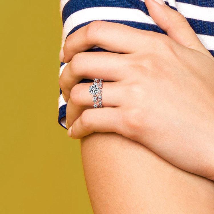Edwardian Rose Gold Engagement Ring And Wedding Band | 07