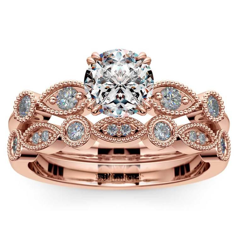 Edwardian Rose Gold Engagement Ring And Wedding Band | 01