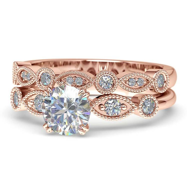 Edwardian Rose Gold Engagement Ring And Wedding Band | 04