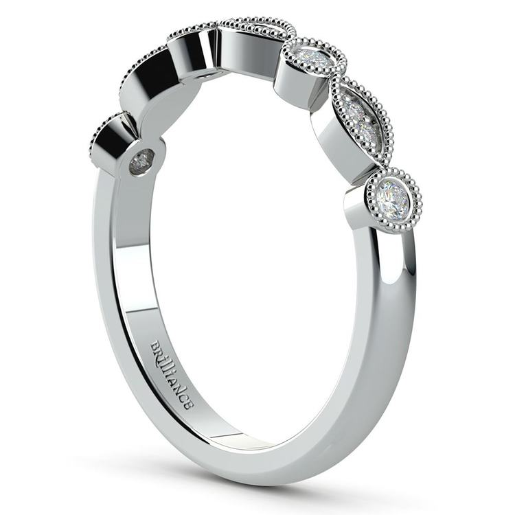 Edwardian Style Engagement Ring And Wedding Band In White Gold | 05
