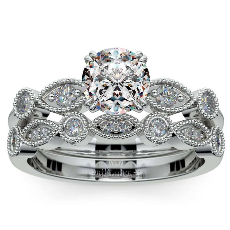 Edwardian Style Engagement Ring And Wedding Band In White Gold | 01