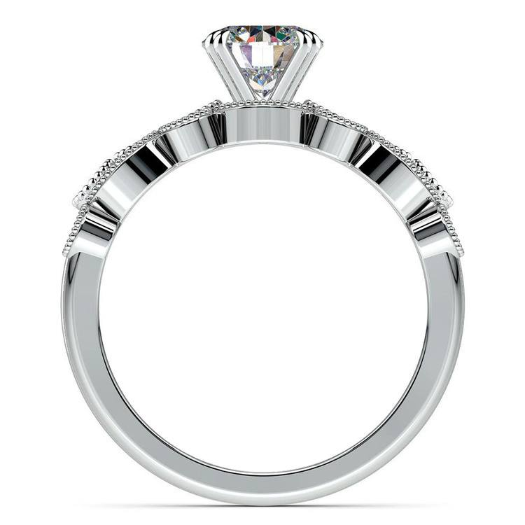 Edwardian Style Engagement Ring And Wedding Band In White Gold | 02