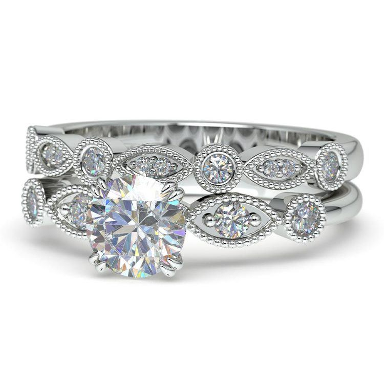 Edwardian Style Engagement Ring And Wedding Band In White Gold | 04
