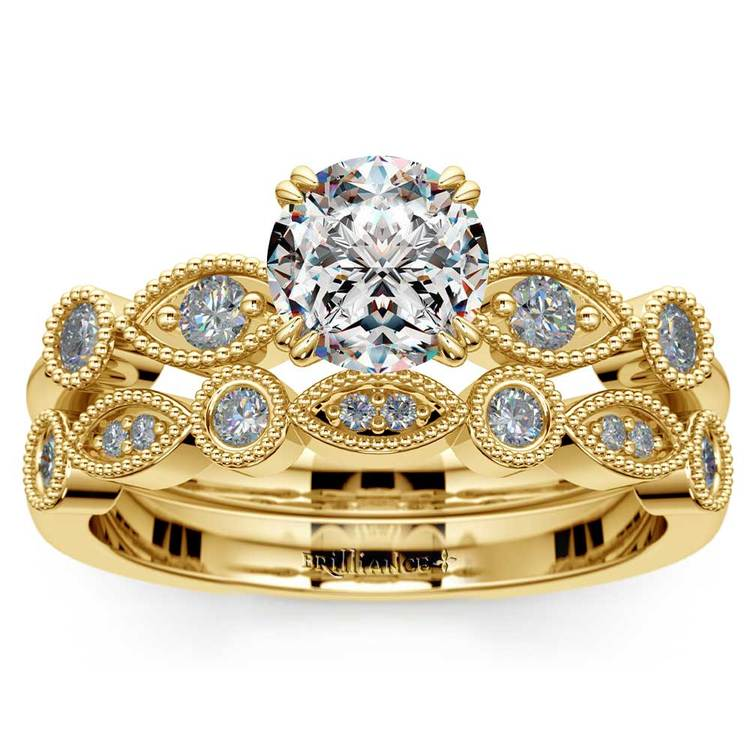 Edwardian Style Engagement Ring And Wedding Band In Yellow Gold | 01