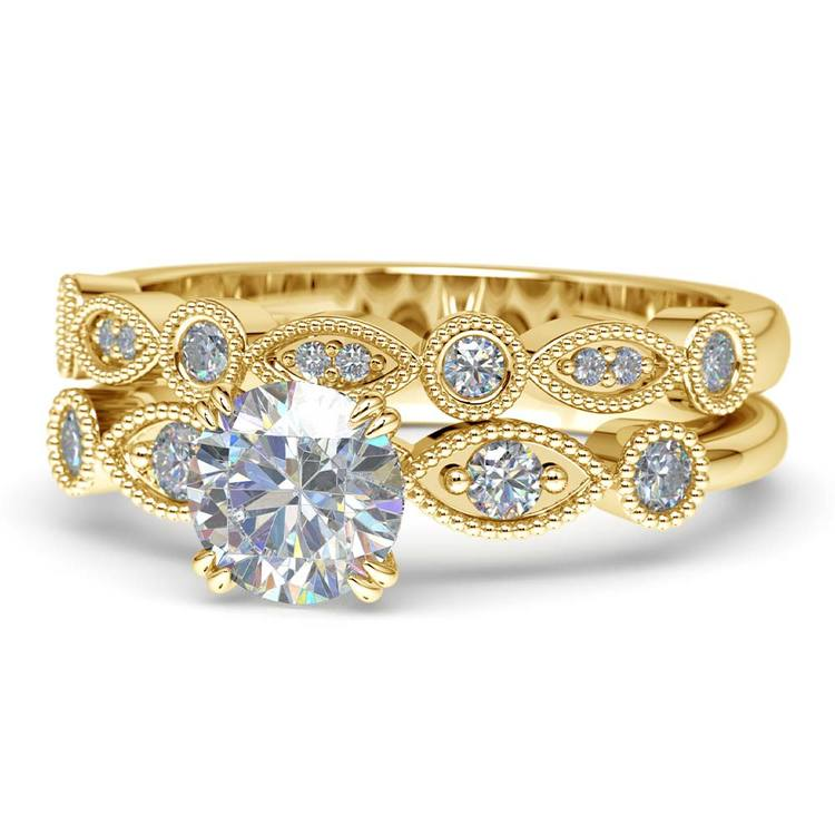 Edwardian Style Engagement Ring And Wedding Band In Yellow Gold | 04