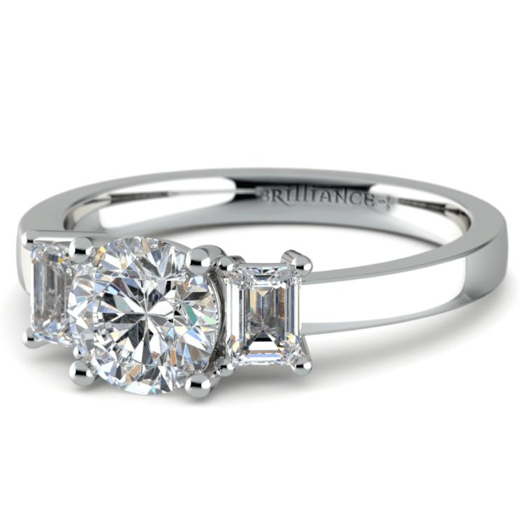 Emerald Diamond Engagement Ring in Platinum (1/2 ctw) | 04