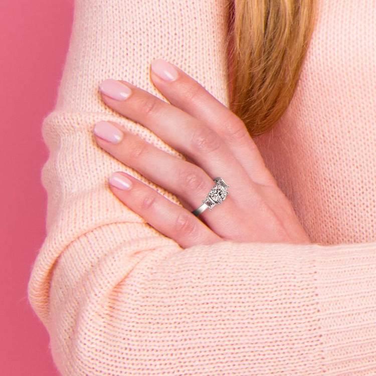 Emerald Diamond Engagement Ring in Platinum (1/2 ctw) | 07