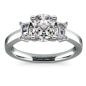 Emerald Diamond Engagement Ring in White Gold (1/2 ctw)