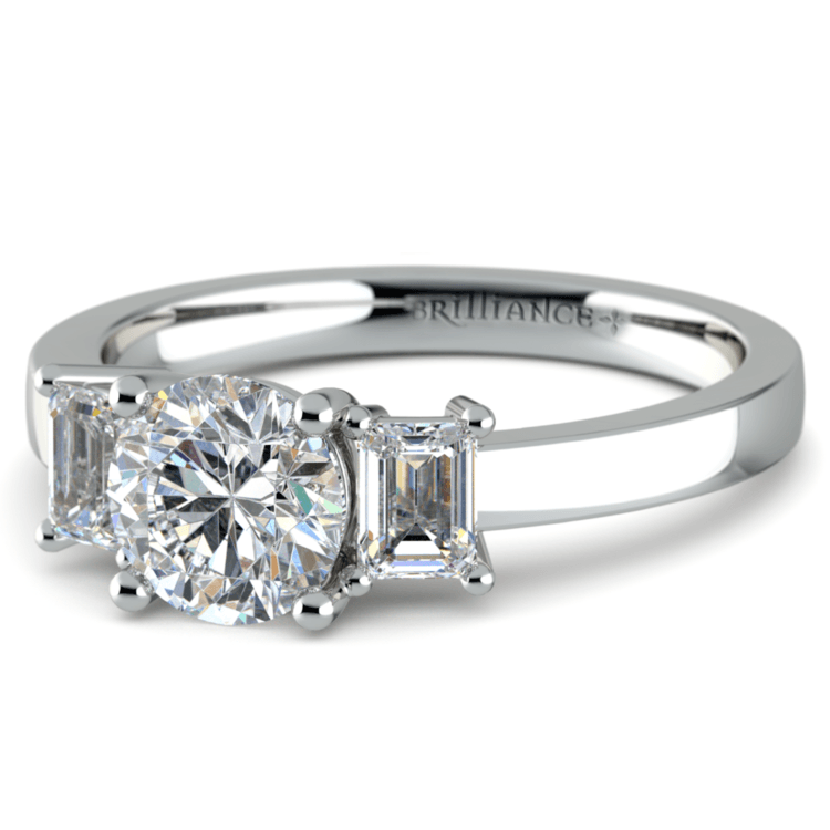Emerald Diamond Engagement Ring in White Gold (1/2 ctw) | 04