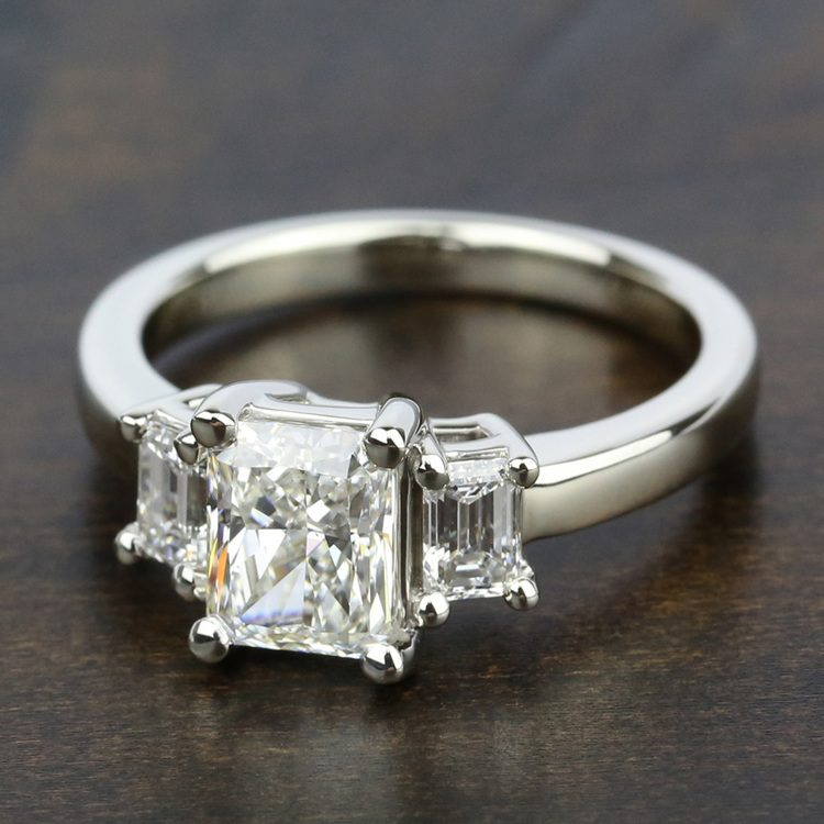 Emerald Diamond Engagement Ring in White Gold (1/2 ctw) | 05