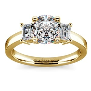 Emerald Diamond Engagement Ring in Yellow Gold
