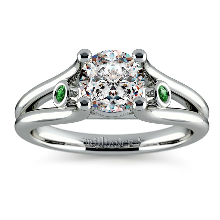 Emerald Accent Gem Engagement Ring in White Gold | 01