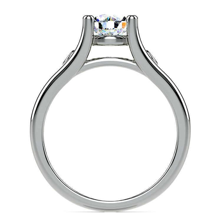 Emerald Accent Gem Engagement Ring in White Gold | 02