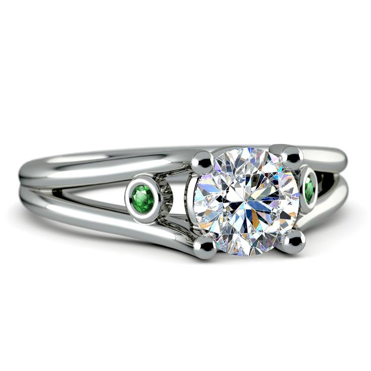 Emerald Accent Gem Engagement Ring in White Gold | 04